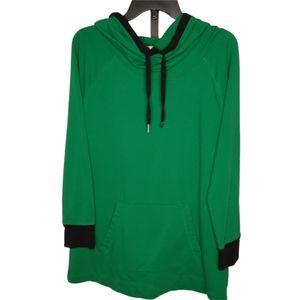 LIZ CLAIBORNE Green Cowl HOODIE L